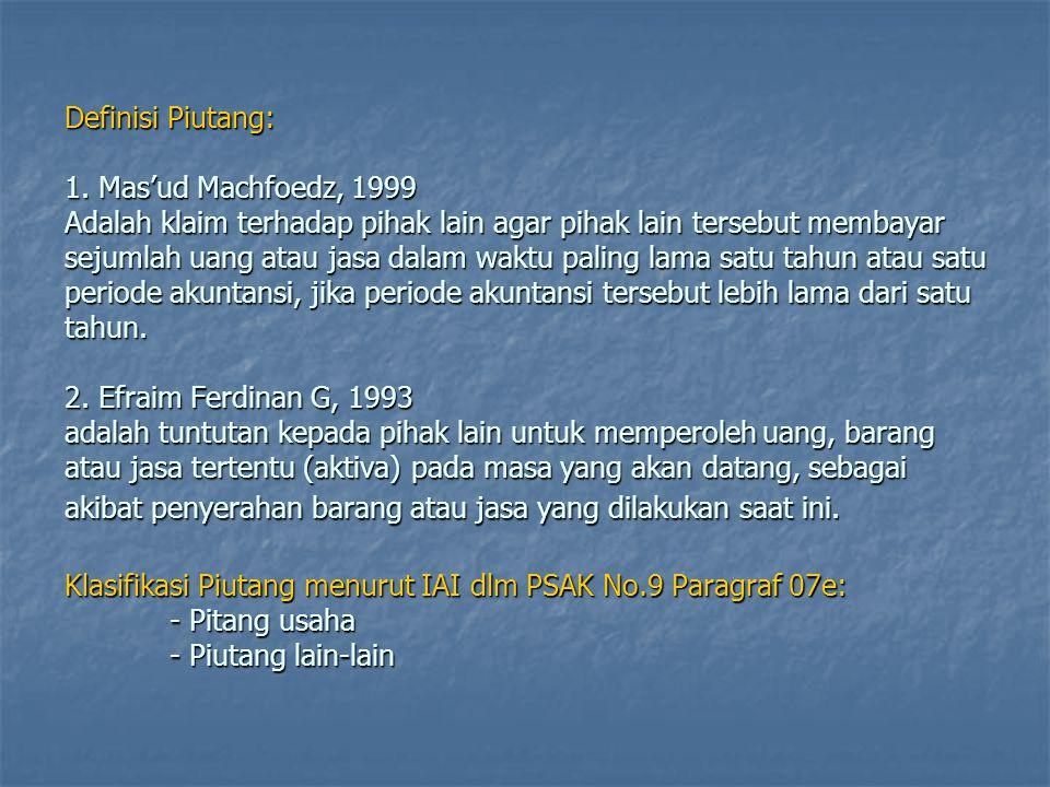 Definisi Piutang: 1. Mas'ud Machfoedz, 1999 Adalah klaim terhadap pihak lain agar pihak lain tersebut membayar sejumlah uang atau jasa dalam waktu pal