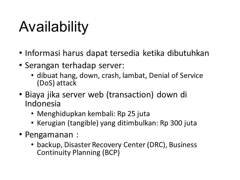 Availability Informasi harus dapat tersedia ketika dibutuhkan Serangan terhadap server: dibuat hang, down, crash, lambat, Denial of Service (DoS) atta