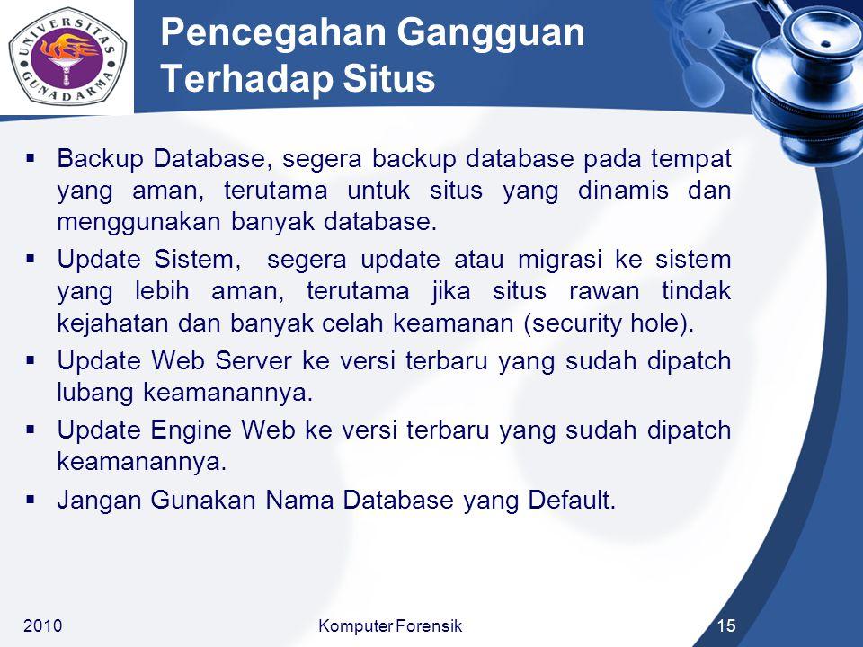Pencegahan Gangguan Terhadap Situs  Backup Database, segera backup database pada tempat yang aman, terutama untuk situs yang dinamis dan menggunakan