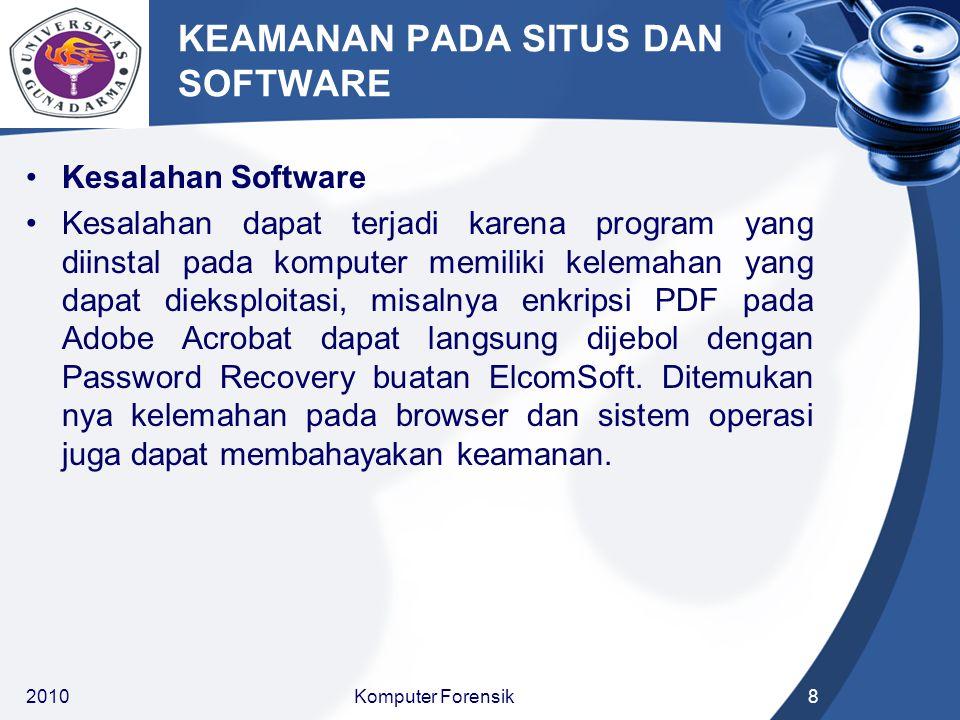 KEAMANAN PADA SITUS DAN SOFTWARE Kesalahan Software Kesalahan dapat terjadi karena program yang diinstal pada komputer memiliki kelemahan yang dapat dieksploitasi, misalnya enkripsi PDF pada Adobe Acrobat dapat langsung dijebol dengan Password Recovery buatan ElcomSoft.
