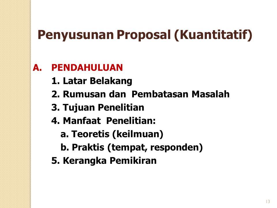 Penyusunan Proposal (Kuantitatif) A.PENDAHULUAN 1. Latar Belakang 2. Rumusan dan Pembatasan Masalah 3. Tujuan Penelitian 4. Manfaat Penelitian: a. Teo