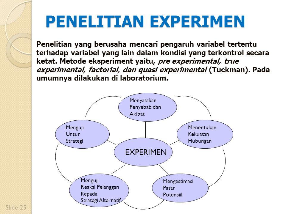 PENELITIAN EXPERIMEN Menguji Unsur Strategi Mengestimasi Pasar Potensiil Menguji Reaksi Pelanggan Kepada Strategi Alternatif EXPERIMEN Menentukan Keku