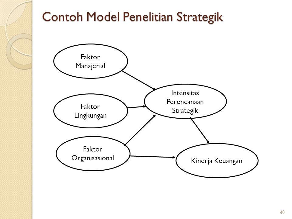 Contoh Model Penelitian Strategik Faktor Manajerial Faktor Lingkungan Faktor Organisasional Intensitas Perencanaan Strategik Kinerja Keuangan 40