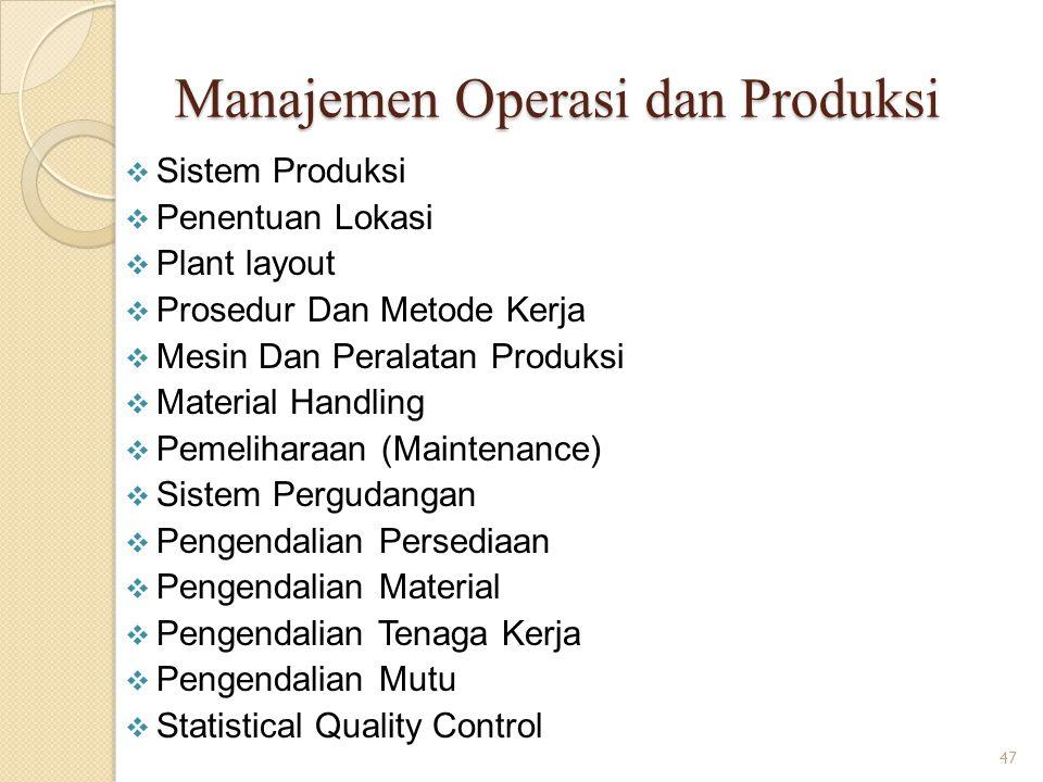 Manajemen Operasi dan Produksi  Sistem Produksi  Penentuan Lokasi  Plant layout  Prosedur Dan Metode Kerja  Mesin Dan Peralatan Produksi  Materi