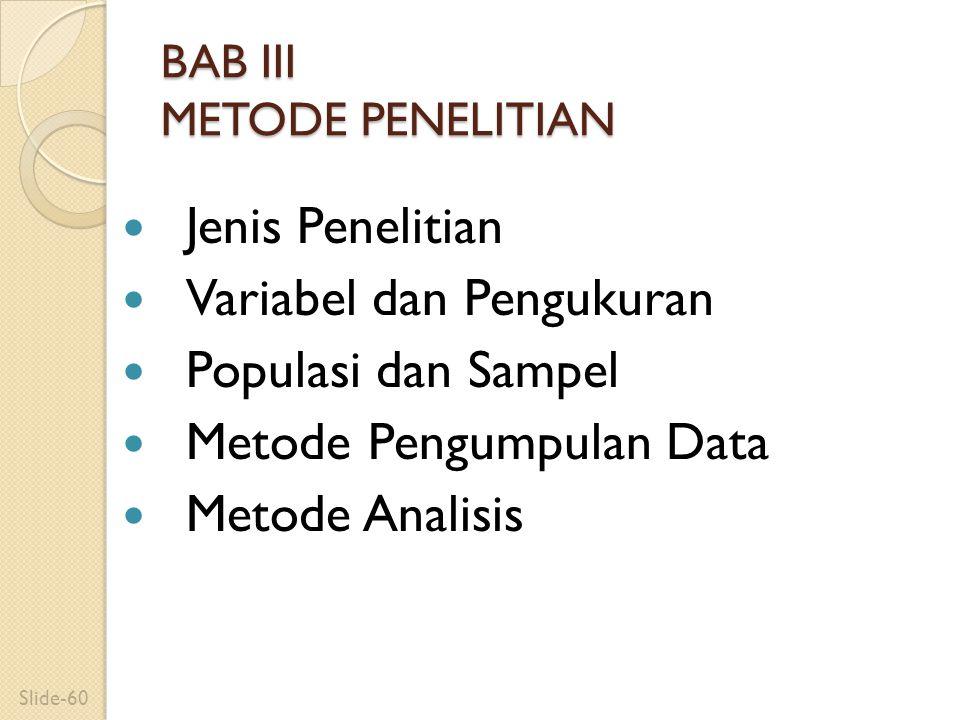 BAB III METODE PENELITIAN Jenis Penelitian Variabel dan Pengukuran Populasi dan Sampel Metode Pengumpulan Data Metode Analisis Slide-60