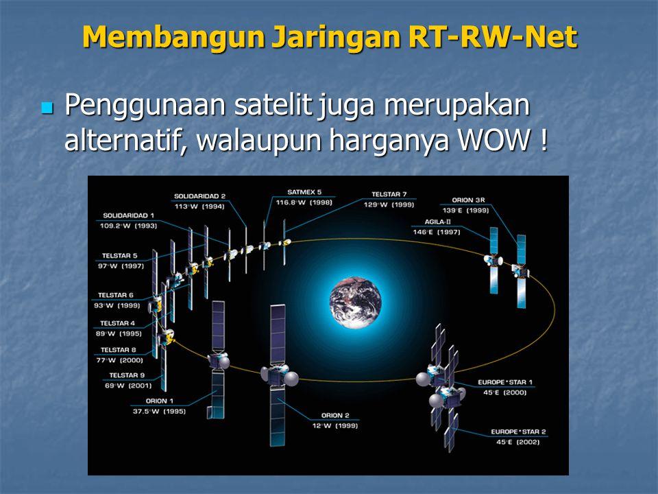 Membangun Jaringan RT-RW-Net Penggunaan satelit juga merupakan alternatif, walaupun harganya WOW ! Penggunaan satelit juga merupakan alternatif, walau