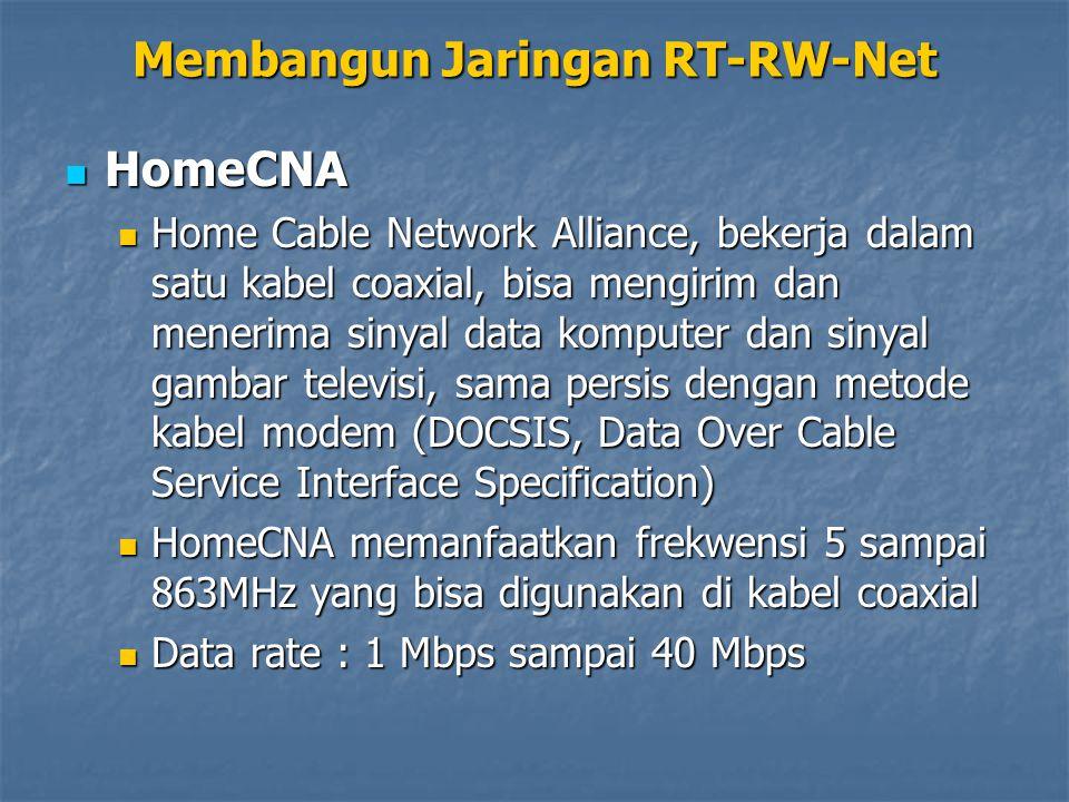 HomeCNA HomeCNA Home Cable Network Alliance, bekerja dalam satu kabel coaxial, bisa mengirim dan menerima sinyal data komputer dan sinyal gambar telev
