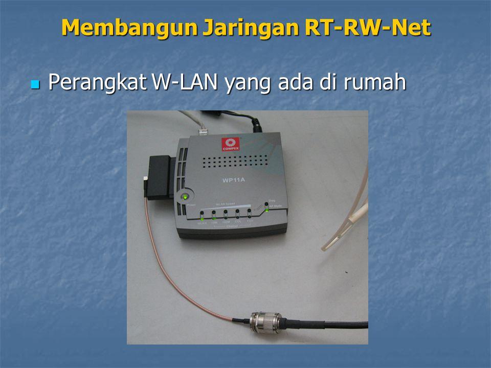 Perangkat W-LAN yang ada di rumah Perangkat W-LAN yang ada di rumah Membangun Jaringan RT-RW-Net