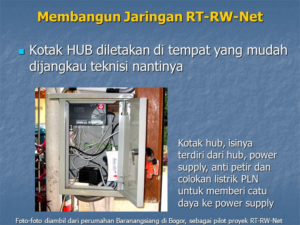 Membangun Jaringan RT-RW-Net Kotak HUB diletakan di tempat yang mudah dijangkau teknisi nantinya Kotak HUB diletakan di tempat yang mudah dijangkau te