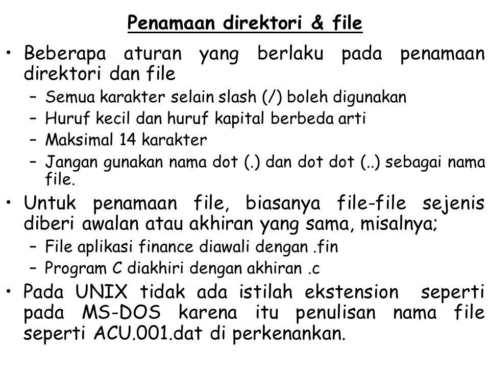 Penamaan direktori & file Beberapa aturan yang berlaku pada penamaan direktori dan file –Semua karakter selain slash (/) boleh digunakan –Huruf kecil
