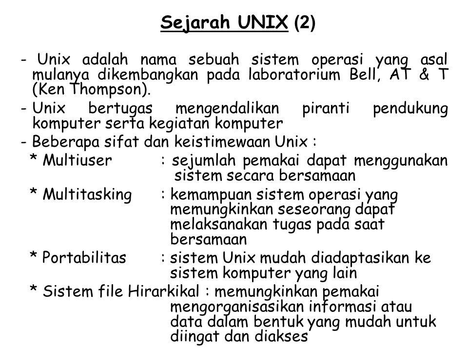 Sejarah UNIX (2) - Unix adalah nama sebuah sistem operasi yang asal mulanya dikembangkan pada laboratorium Bell, AT & T (Ken Thompson). -Unix bertugas