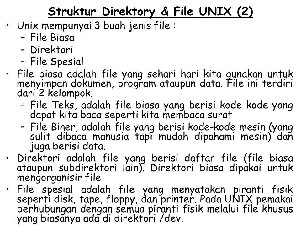 Struktur Direktory & File UNIX (2) Unix mempunyai 3 buah jenis file : –File Biasa –Direktori –File Spesial File biasa adalah file yang sehari hari kit