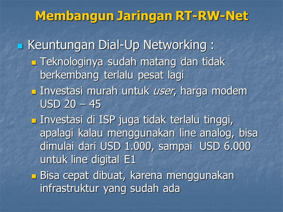 Keuntungan Dial-Up Networking : Keuntungan Dial-Up Networking : Teknologinya sudah matang dan tidak berkembang terlalu pesat lagi Teknologinya sudah m