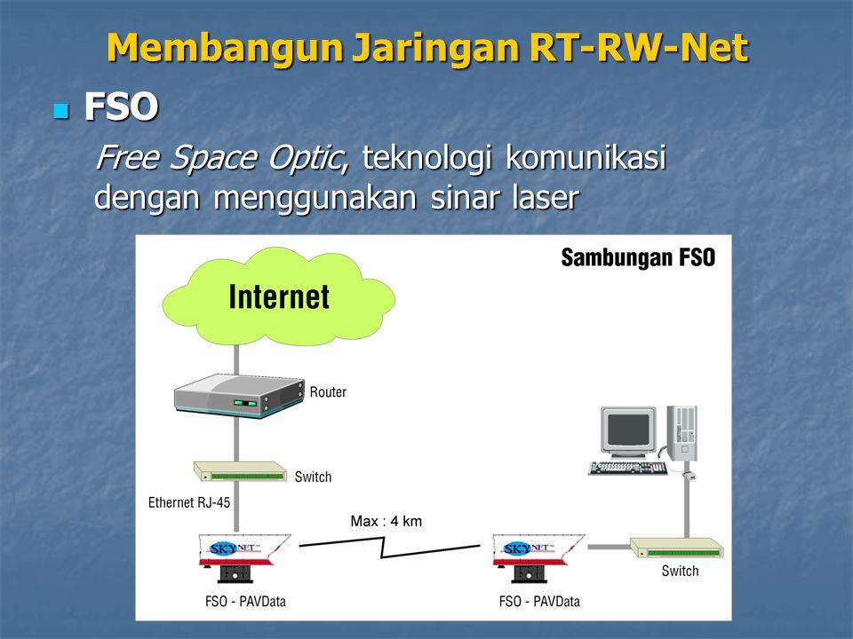 Keuntungan FSO : Keuntungan FSO : Teknologinya tepat guna, sudah dikembangkan sejak lama Teknologinya tepat guna, sudah dikembangkan sejak lama Dapat menyalurkan data dengan bandwith yang besar Dapat menyalurkan data dengan bandwith yang besar Pemasangannya mudah Pemasangannya mudah Dapat dipasang dimana saja, asal persyaratan jarak dan line of sight terpenuhi Dapat dipasang dimana saja, asal persyaratan jarak dan line of sight terpenuhi Membangun Jaringan RT-RW-Net