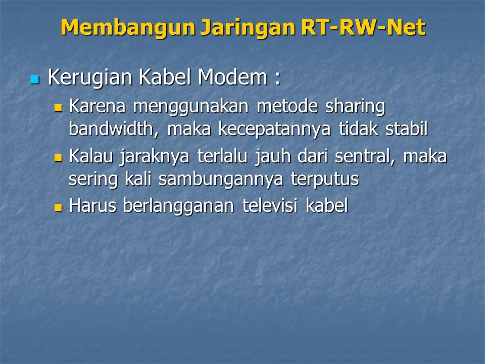 Kerugian Kabel Modem : Kerugian Kabel Modem : Karena menggunakan metode sharing bandwidth, maka kecepatannya tidak stabil Karena menggunakan metode sh
