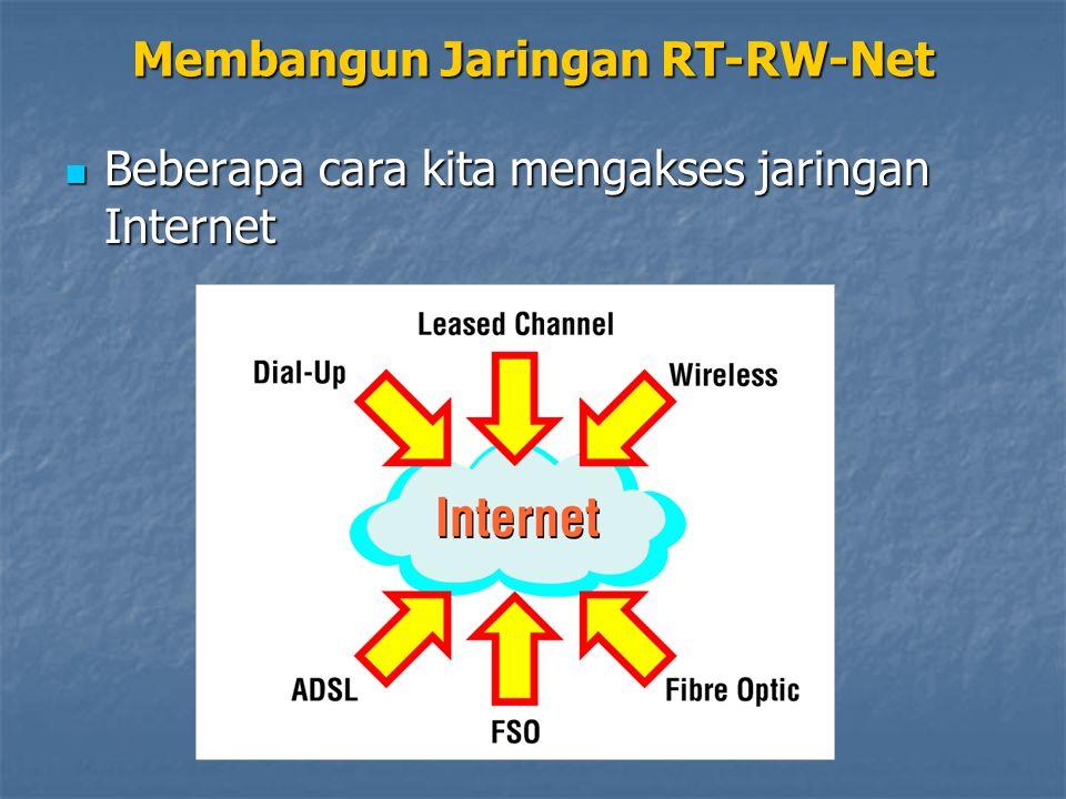 Langkah pertama, kita mencari akses broadband Internet yang terjangkau Langkah pertama, kita mencari akses broadband Internet yang terjangkau Kabel modem : Rp 500.000,- per bulan Kabel modem : Rp 500.000,- per bulan ADSL modem : Rp 4.000.000,- per bulan ADSL modem : Rp 4.000.000,- per bulan Wireless LAN : Rp 5.000.000,- per bulan Wireless LAN : Rp 5.000.000,- per bulan Leased Line : Rp 7.000.000,- per bulan Leased Line : Rp 7.000.000,- per bulan Intinya, jika dibagi ke setiap rumah, tidak lebih dari Rp 300.000,- per bulan Intinya, jika dibagi ke setiap rumah, tidak lebih dari Rp 300.000,- per bulan
