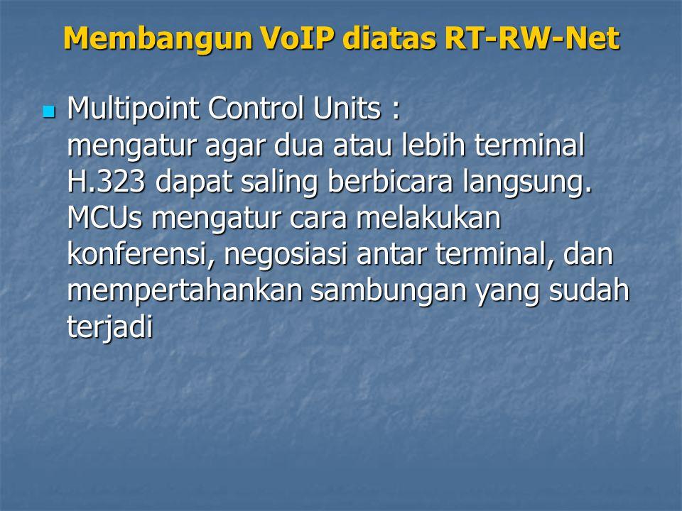 Multipoint Control Units : mengatur agar dua atau lebih terminal H.323 dapat saling berbicara langsung.