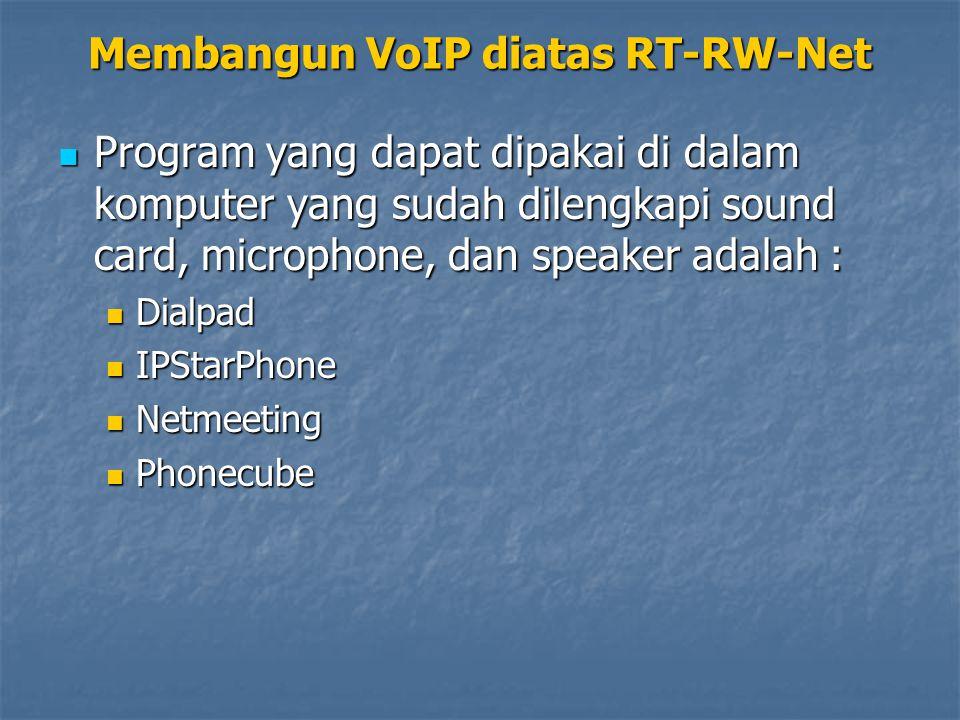 Program yang dapat dipakai di dalam komputer yang sudah dilengkapi sound card, microphone, dan speaker adalah : Program yang dapat dipakai di dalam komputer yang sudah dilengkapi sound card, microphone, dan speaker adalah : Dialpad Dialpad IPStarPhone IPStarPhone Netmeeting Netmeeting Phonecube Phonecube Membangun VoIP diatas RT-RW-Net