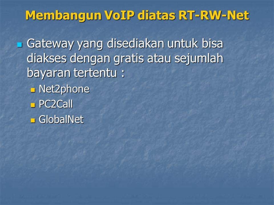 Gateway yang disediakan untuk bisa diakses dengan gratis atau sejumlah bayaran tertentu : Gateway yang disediakan untuk bisa diakses dengan gratis atau sejumlah bayaran tertentu : Net2phone Net2phone PC2Call PC2Call GlobalNet GlobalNet Membangun VoIP diatas RT-RW-Net