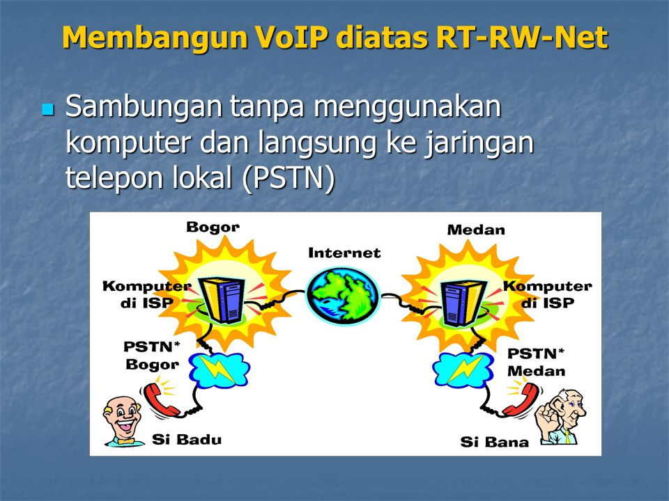 Sambungan tanpa menggunakan komputer dan langsung ke jaringan telepon lokal (PSTN) Sambungan tanpa menggunakan komputer dan langsung ke jaringan telepon lokal (PSTN) Membangun VoIP diatas RT-RW-Net