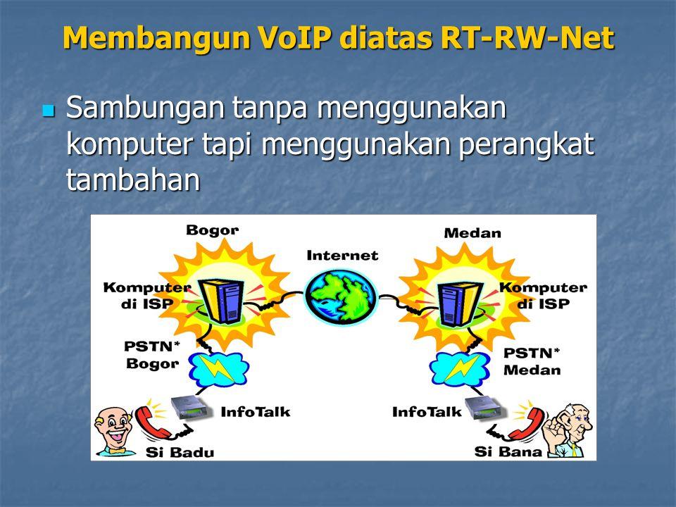 Sambungan tanpa menggunakan komputer tapi menggunakan perangkat tambahan Sambungan tanpa menggunakan komputer tapi menggunakan perangkat tambahan Membangun VoIP diatas RT-RW-Net