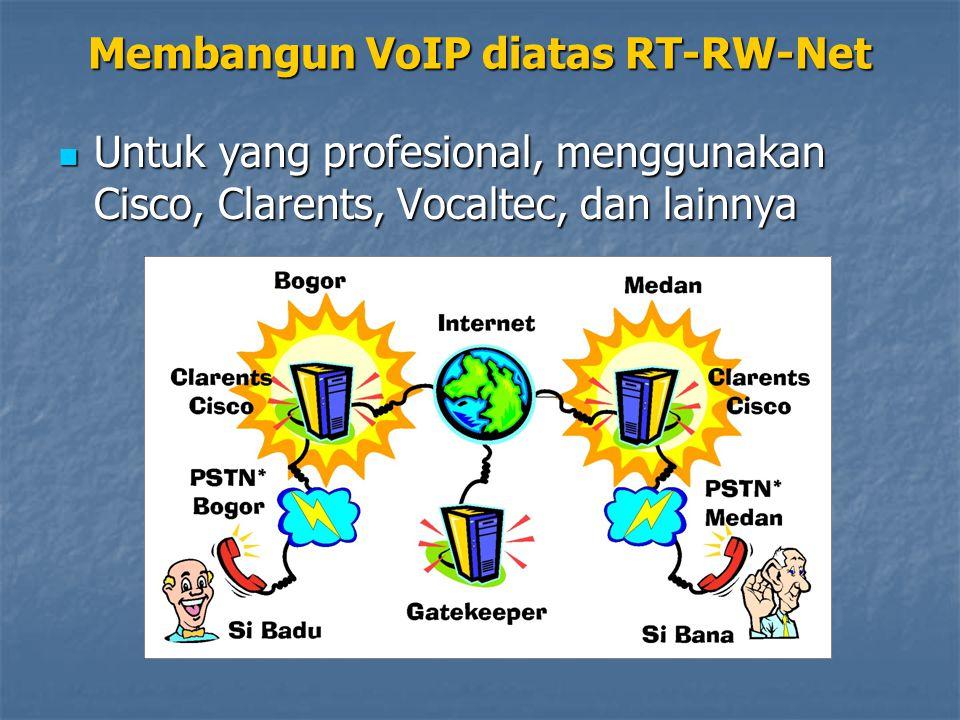 Untuk yang profesional, menggunakan Cisco, Clarents, Vocaltec, dan lainnya Untuk yang profesional, menggunakan Cisco, Clarents, Vocaltec, dan lainnya Membangun VoIP diatas RT-RW-Net