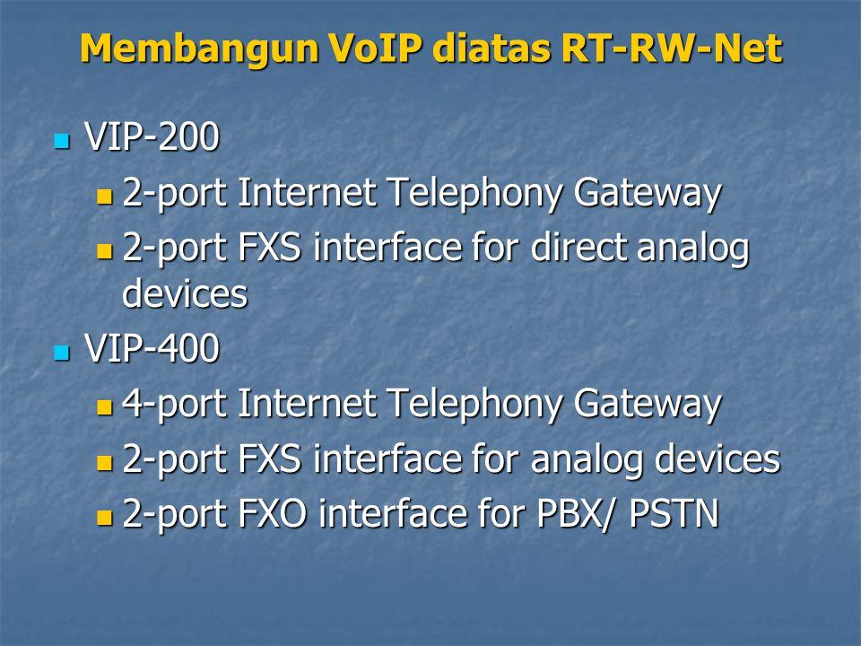 VIP-200 VIP-200 2-port Internet Telephony Gateway 2-port Internet Telephony Gateway 2-port FXS interface for direct analog devices 2-port FXS interface for direct analog devices VIP-400 VIP-400 4-port Internet Telephony Gateway 4-port Internet Telephony Gateway 2-port FXS interface for analog devices 2-port FXS interface for analog devices 2-port FXO interface for PBX/ PSTN 2-port FXO interface for PBX/ PSTN Membangun VoIP diatas RT-RW-Net