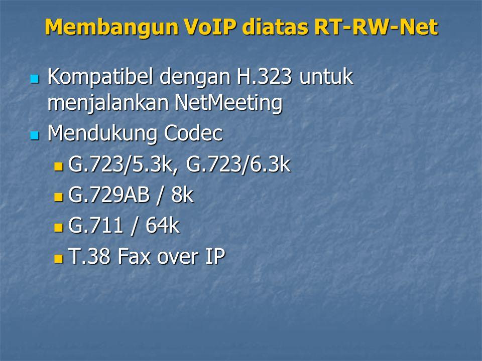 Kompatibel dengan H.323 untuk menjalankan NetMeeting Kompatibel dengan H.323 untuk menjalankan NetMeeting Mendukung Codec Mendukung Codec G.723/5.3k,