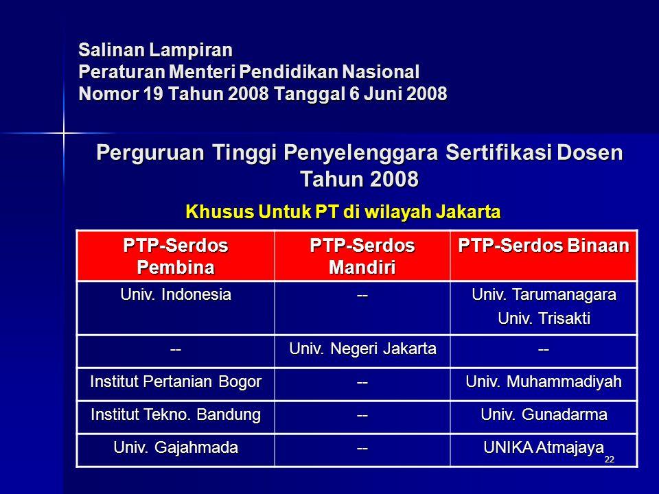 22 Salinan Lampiran Peraturan Menteri Pendidikan Nasional Nomor 19 Tahun 2008 Tanggal 6 Juni 2008 PTP-Serdos Pembina PTP-Serdos Mandiri PTP-Serdos Bin
