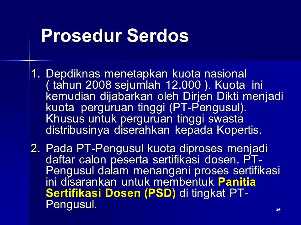 24 Prosedur Serdos 1.Depdiknas menetapkan kuota nasional ( tahun 2008 sejumlah 12.000 ). Kuota ini kemudian dijabarkan oleh Dirjen Dikti menjadi kuota