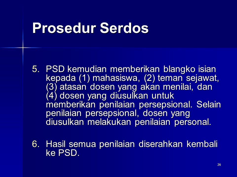26 5.PSD kemudian memberikan blangko isian kepada (1) mahasiswa, (2) teman sejawat, (3) atasan dosen yang akan menilai, dan (4) dosen yang diusulkan u