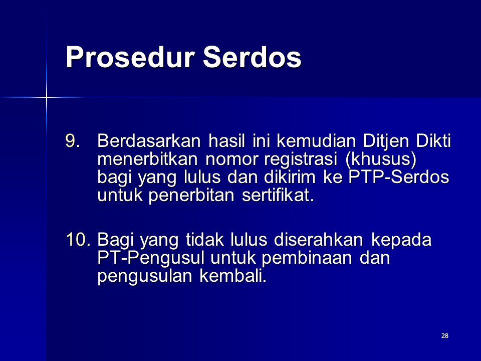28 9.Berdasarkan hasil ini kemudian Ditjen Dikti menerbitkan nomor registrasi (khusus) bagi yang lulus dan dikirim ke PTP-Serdos untuk penerbitan sert