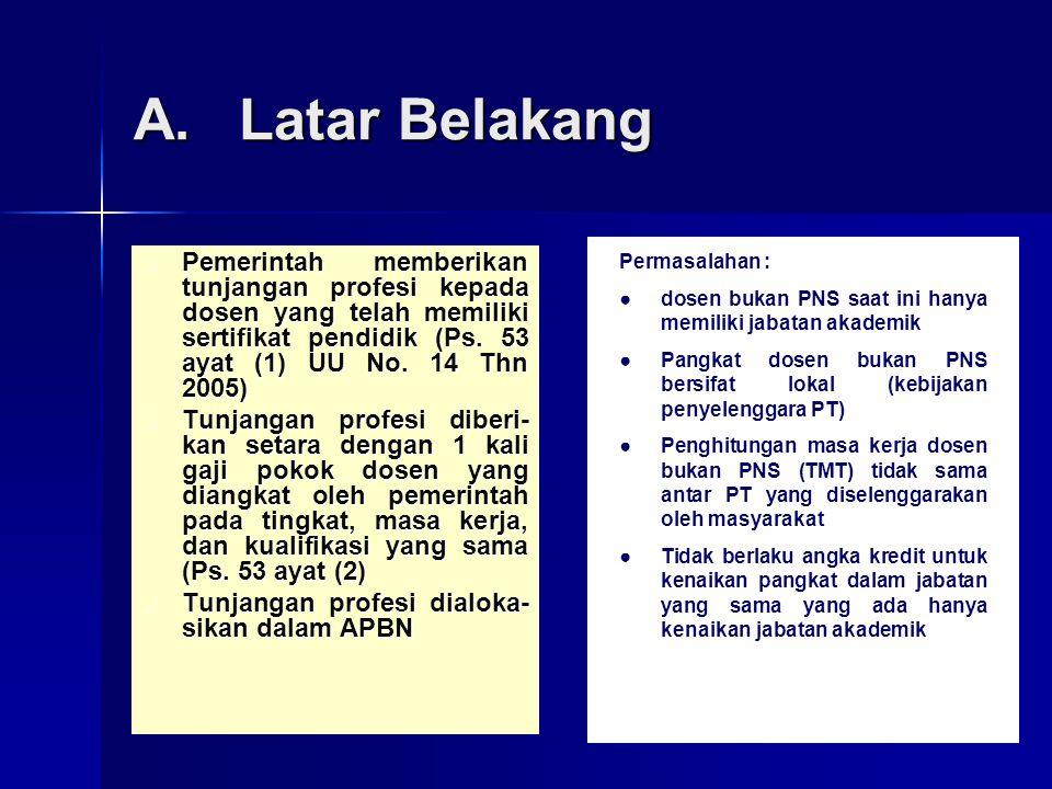 35 A.Latar Belakang Pemerintah memberikan tunjangan profesi kepada dosen yang telah memiliki sertifikat pendidik (Ps. 53 ayat (1) UU No. 14 Thn 2005)