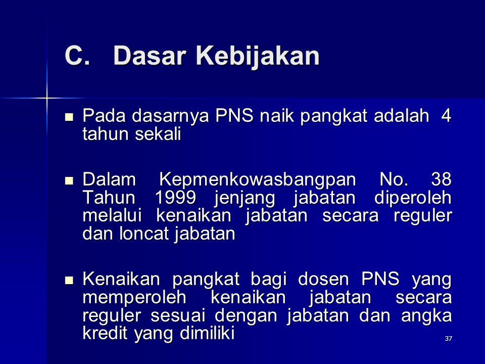 37 C.Dasar Kebijakan Pada dasarnya PNS naik pangkat adalah 4 tahun sekali Pada dasarnya PNS naik pangkat adalah 4 tahun sekali Dalam Kepmenkowasbangpa