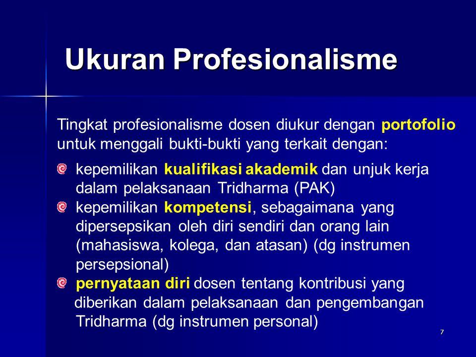 7 Ukuran Profesionalisme Tingkat profesionalisme dosen diukur dengan portofolio untuk menggali bukti-bukti yang terkait dengan: kepemilikan kualifikas