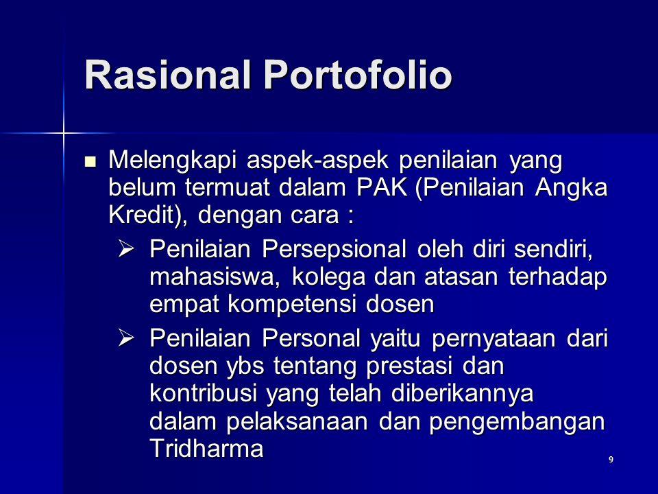 9 Rasional Portofolio Melengkapi aspek-aspek penilaian yang belum termuat dalam PAK (Penilaian Angka Kredit), dengan cara : Melengkapi aspek-aspek pen