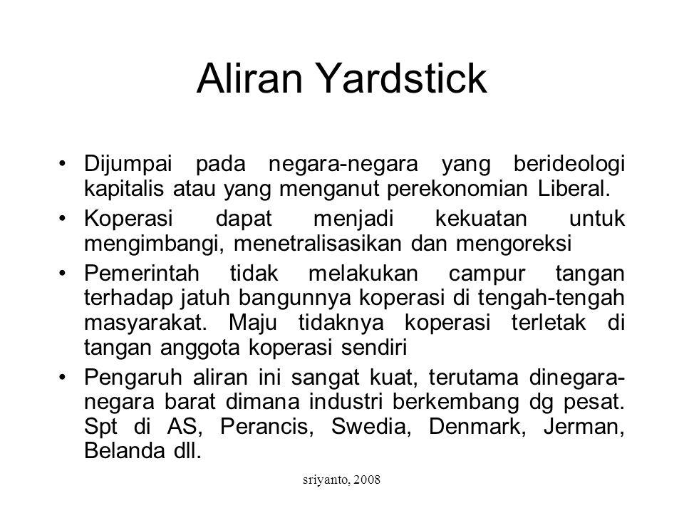 sriyanto, 2008 Aliran Yardstick Dijumpai pada negara-negara yang berideologi kapitalis atau yang menganut perekonomian Liberal. Koperasi dapat menjadi