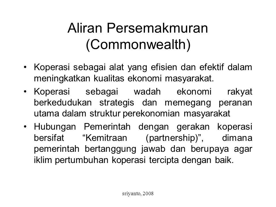 sriyanto, 2008 Aliran Persemakmuran (Commonwealth) Koperasi sebagai alat yang efisien dan efektif dalam meningkatkan kualitas ekonomi masyarakat. Kope