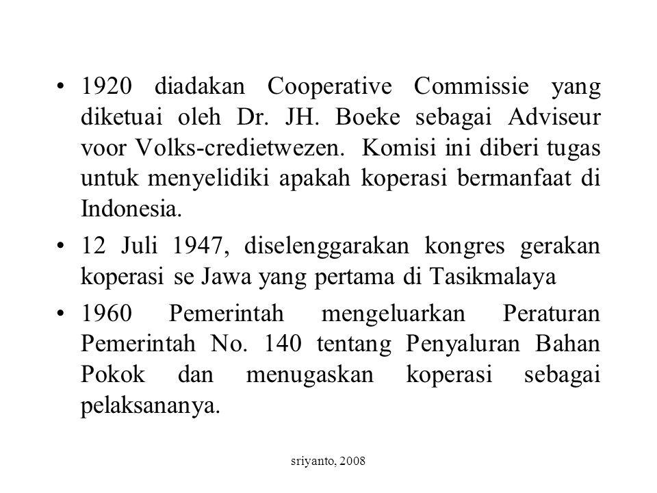 sriyanto, 2008 1920 diadakan Cooperative Commissie yang diketuai oleh Dr. JH. Boeke sebagai Adviseur voor Volks-credietwezen. Komisi ini diberi tugas