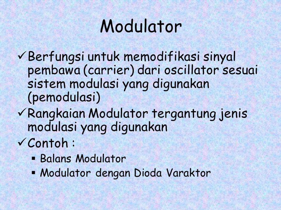 Modulator Berfungsi untuk memodifikasi sinyal pembawa (carrier) dari oscillator sesuai sistem modulasi yang digunakan (pemodulasi) Rangkaian Modulator tergantung jenis modulasi yang digunakan Contoh :  Balans Modulator  Modulator dengan Dioda Varaktor