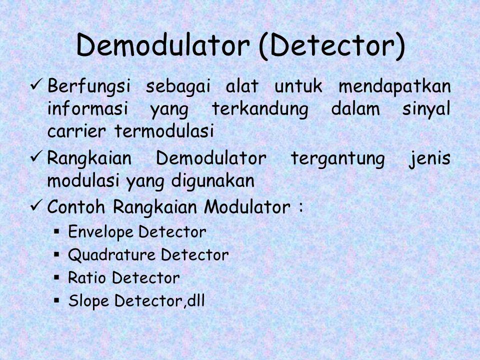 Demodulator (Detector) Berfungsi sebagai alat untuk mendapatkan informasi yang terkandung dalam sinyal carrier termodulasi Rangkaian Demodulator tergantung jenis modulasi yang digunakan Contoh Rangkaian Modulator :  Envelope Detector  Quadrature Detector  Ratio Detector  Slope Detector,dll