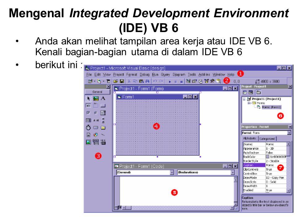 Mengenal Integrated Development Environment (IDE) VB 6 Anda akan melihat tampilan area kerja atau IDE VB 6.
