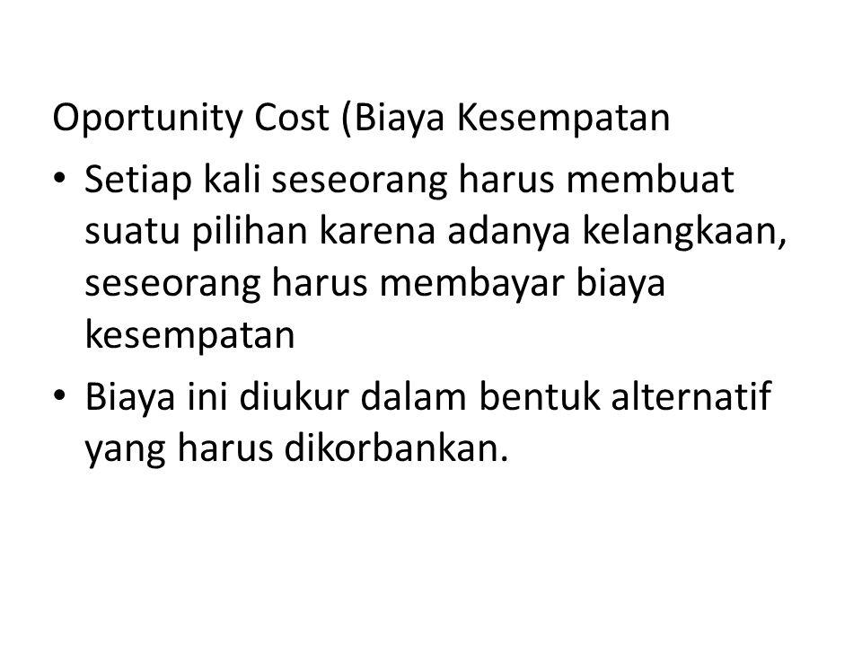 Oportunity Cost (Biaya Kesempatan Setiap kali seseorang harus membuat suatu pilihan karena adanya kelangkaan, seseorang harus membayar biaya kesempata