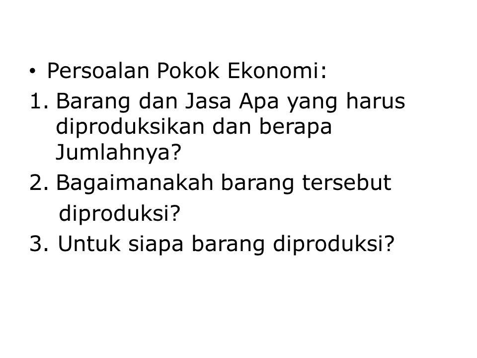 Persoalan Pokok Ekonomi: 1.Barang dan Jasa Apa yang harus diproduksikan dan berapa Jumlahnya? 2.Bagaimanakah barang tersebut diproduksi? 3. Untuk siap