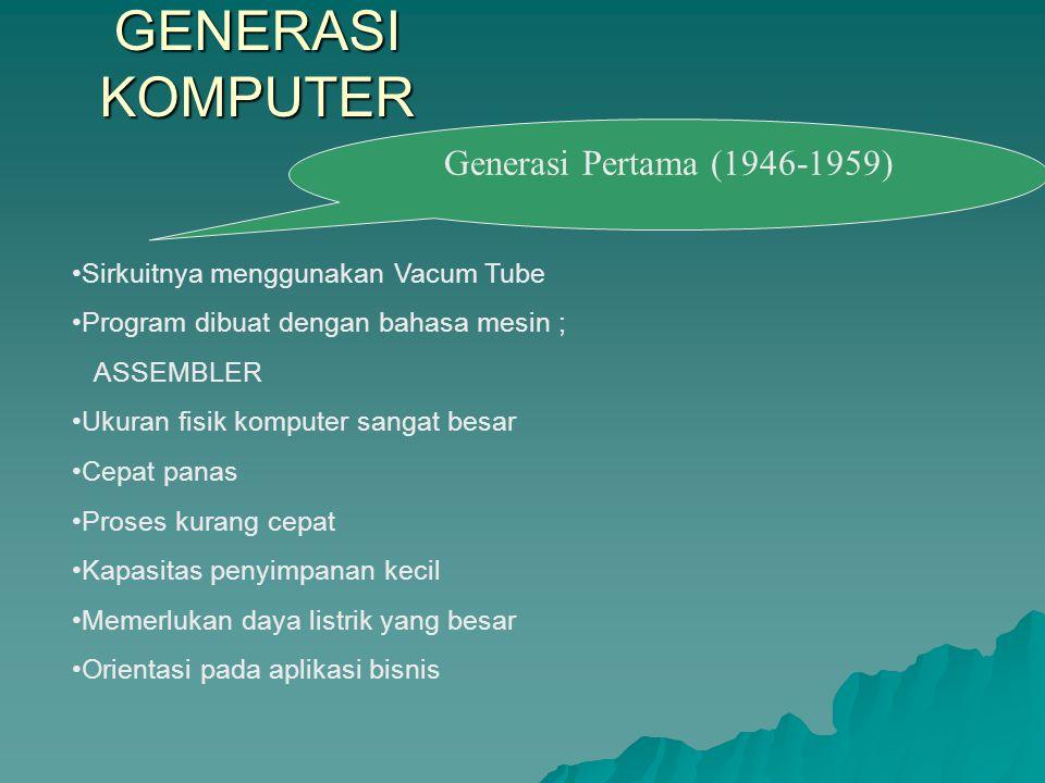 GENERASI KOMPUTER Sirkuitnya menggunakan Vacum Tube Program dibuat dengan bahasa mesin ; ASSEMBLER Ukuran fisik komputer sangat besar Cepat panas Pros