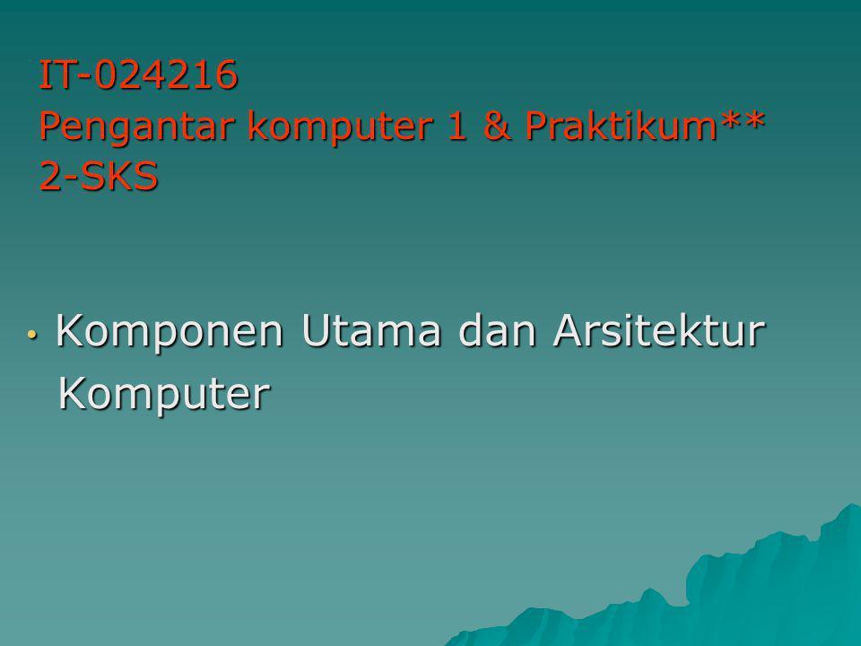 Komponen Utama dan Arsitektur Komponen Utama dan Arsitektur Komputer Komputer IT-024216 Pengantar komputer 1 & Praktikum** 2-SKS