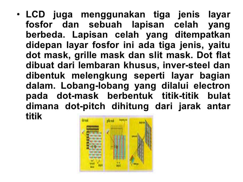 LCD juga menggunakan tiga jenis layar fosfor dan sebuah lapisan celah yang berbeda. Lapisan celah yang ditempatkan didepan layar fosfor ini ada tiga j