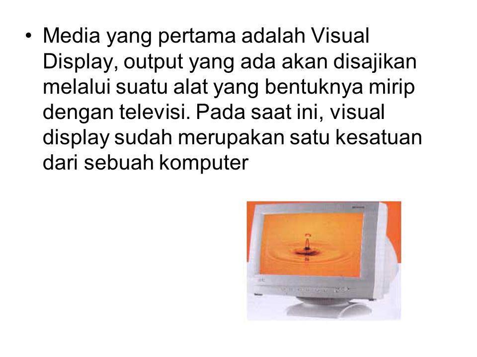 Media yang pertama adalah Visual Display, output yang ada akan disajikan melalui suatu alat yang bentuknya mirip dengan televisi. Pada saat ini, visua