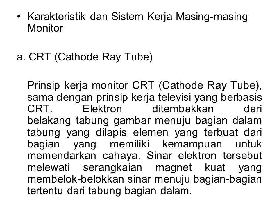 Karakteristik dan Sistem Kerja Masing-masing Monitor a. CRT (Cathode Ray Tube) Prinsip kerja monitor CRT (Cathode Ray Tube), sama dengan prinsip kerja