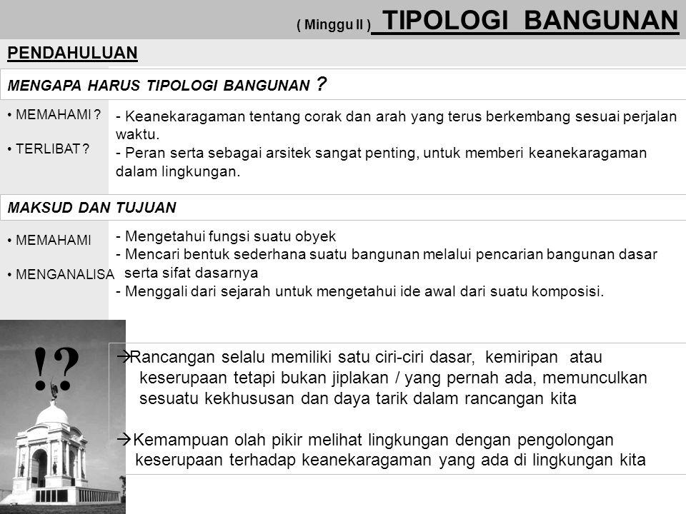 ( Minggu II ) TIPOLOGI BANGUNAN PENDAHULUAN MAKSUD DAN TUJUAN MENGAPA HARUS TIPOLOGI BANGUNAN .